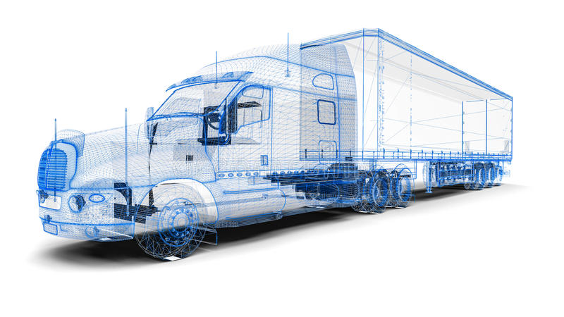 Wireframe åker lastbil royaltyfri illustrationer