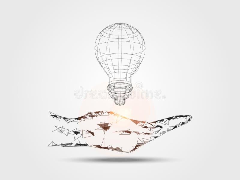 Wireframe żarówka na ręce reprezentuje główkowanie nowy pomysł Pojęcie technologia i innowacja ilustracji