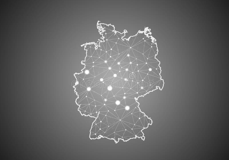 Wireframe вектора цепляет полигональное карты Германии Абстрактная глобальная структура соединения Карта соединенная с линиями и  иллюстрация штока