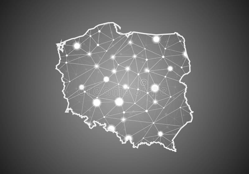 Wireframe вектора цепляет полигональное карты Польши Абстрактная глобальная структура соединения Карта соединенная с линиями и то иллюстрация вектора
