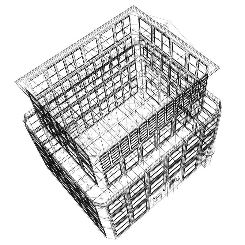 wireframe взгляда перспективы здания иллюстрация вектора