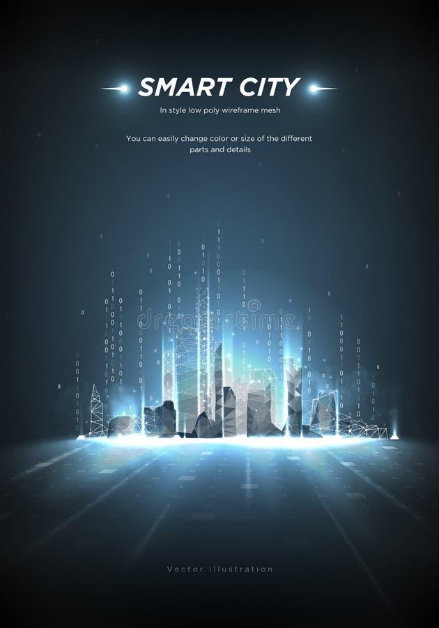 Wireframe города HandcitySmart низкое поли Конспект или метрополия города будущие Умная строя автоматизация Поток бинарного кода бесплатная иллюстрация