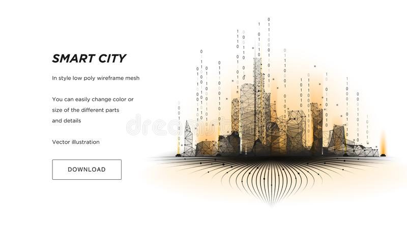 Wireframe умного города низкое поли Конспект или метрополия техника города hi Умная концепция дела системы автоматизации здания иллюстрация вектора