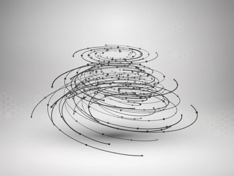 Wireframe滤网元素 与被连接的线和小点的抽象漩涡形式 向量例证