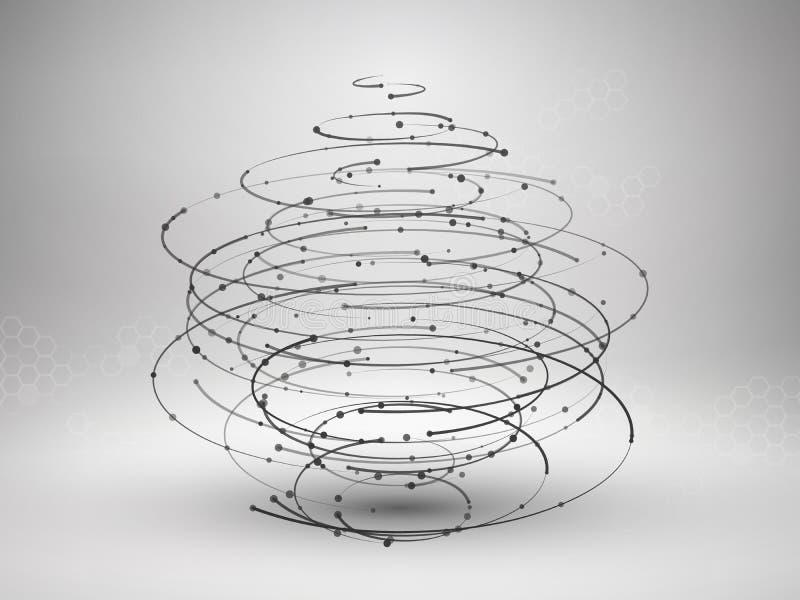 Wireframe滤网元素 与被连接的线和小点的抽象漩涡形式 库存例证
