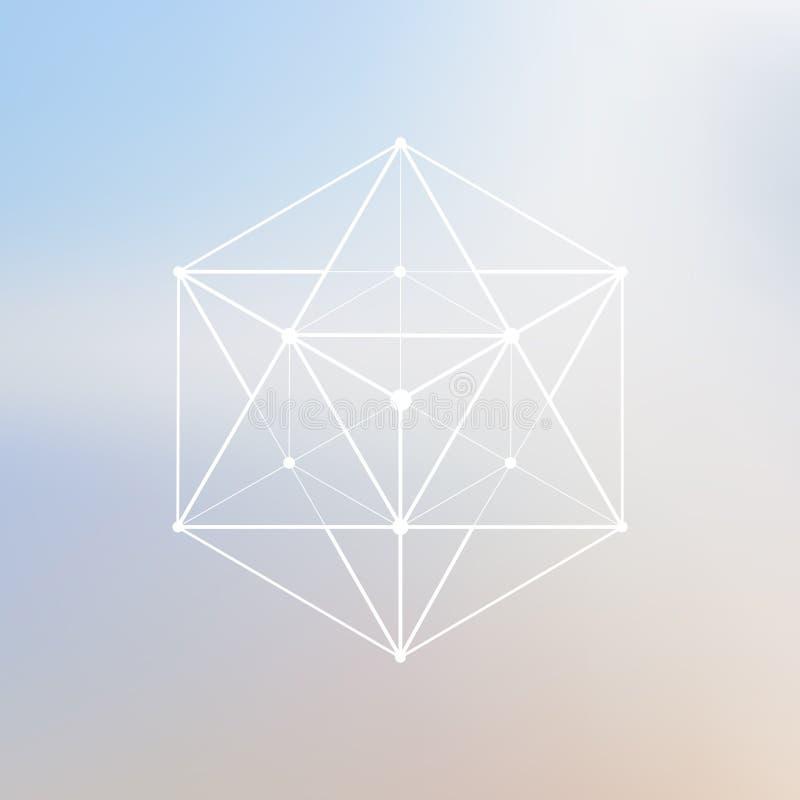 Wireframe滤网多角形元素 与被连接的线a的多角形 向量例证