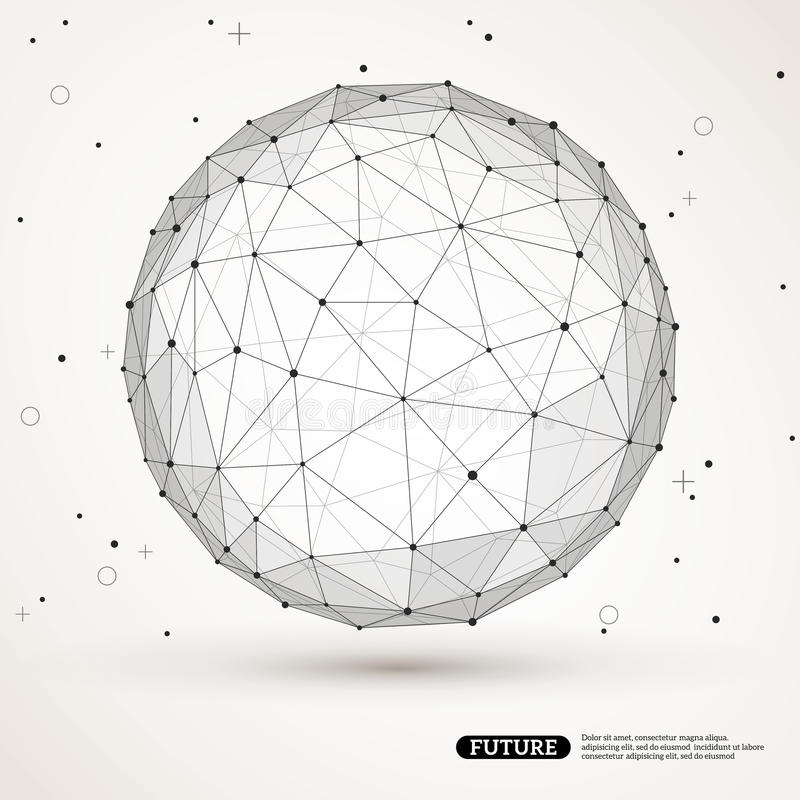 Wireframe滤网多角形元素 球形与 向量例证