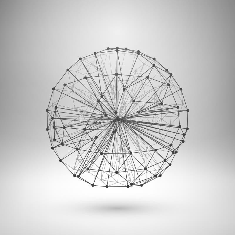 Wireframe滤网多角形球形 向量例证