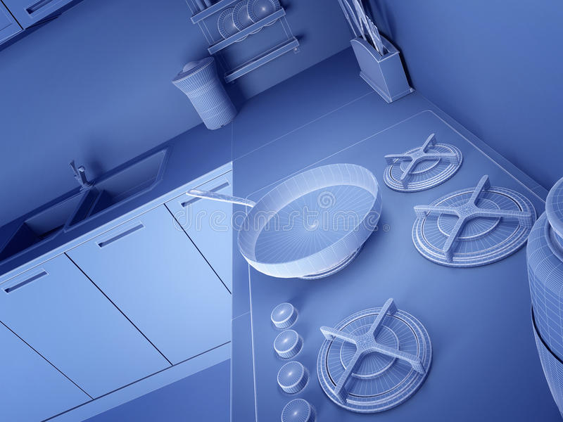 Download Wireframe 3d Kitchen Royalty Free Stock Photos - Image: 12632038