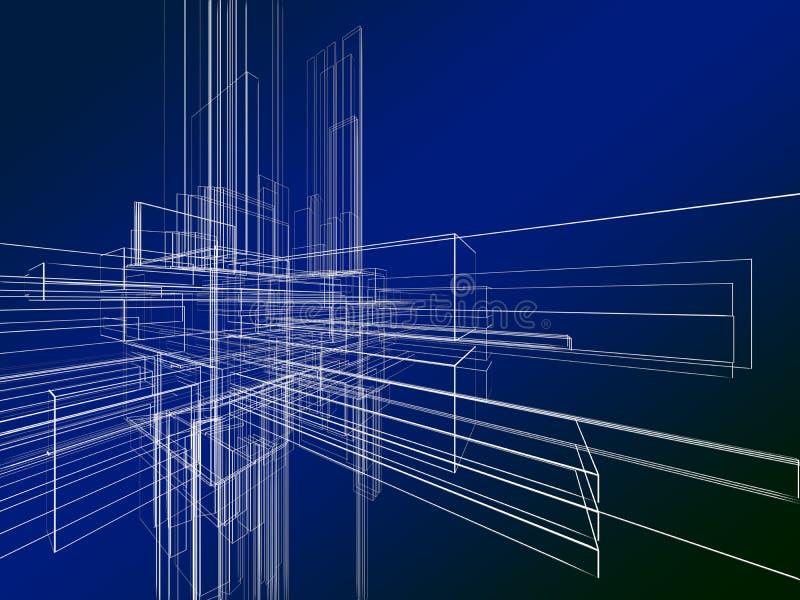 Wireframe abstracto en fondo azul libre illustration