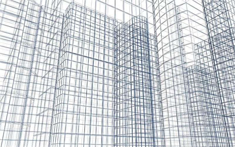 Wireframe abstrait de bâtiment illustration de vecteur