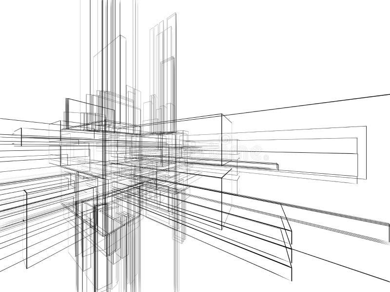 wireframe abstrait de blanc de fond illustration stock