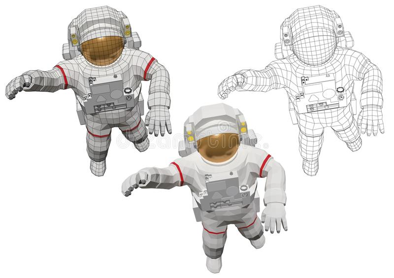 Astronaut in spacewalk outside the spacecraft stock illustration