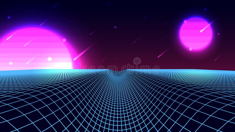 Wireframe background landscape. 1980s retro wave style. Sci-Fi futuristic vector illustration with a starfall. Wireframe background landscape. 1980s retro wave vector illustration