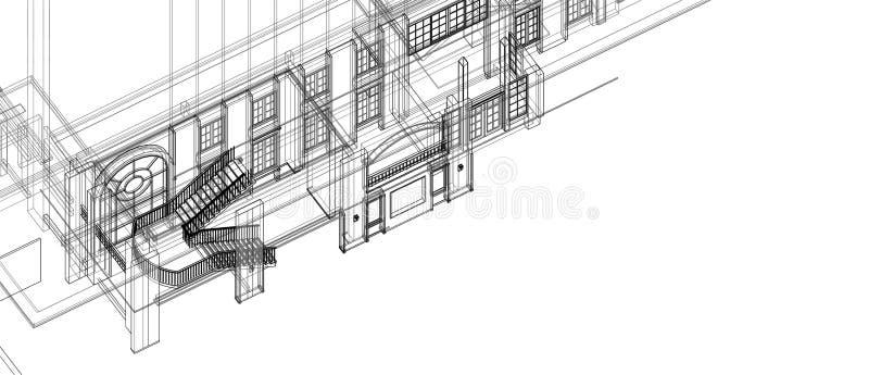 Wireframe bianco della scala di architettura della colonna delle finestre dell'elemento di progetto di prospettiva interna di con illustrazione vettoriale