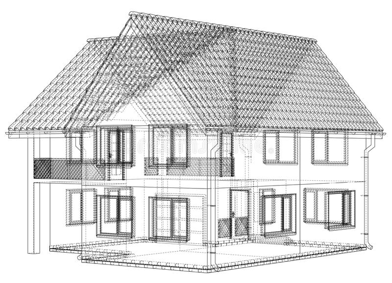 Wireframe blueprint drawing of 3d house vector illustration stock download wireframe blueprint drawing of 3d house vector illustration stock vector illustration of abstract malvernweather Choice Image
