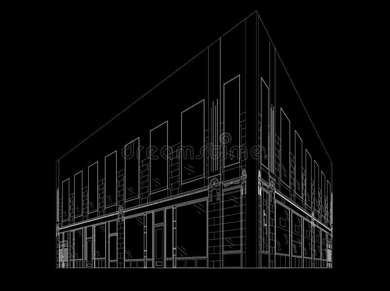 Wireframe budynek ilustracja wektor
