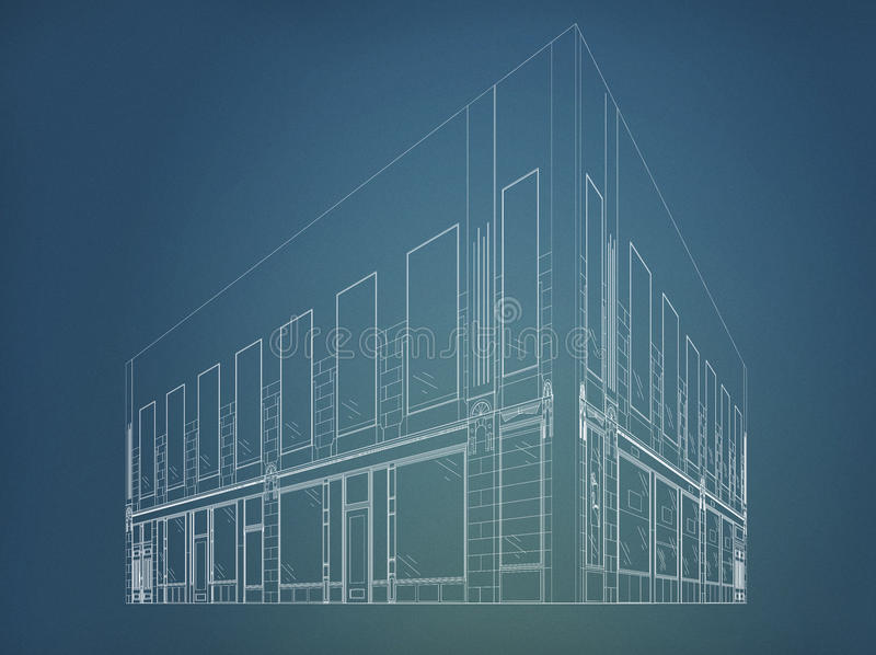 Wireframe building stock image
