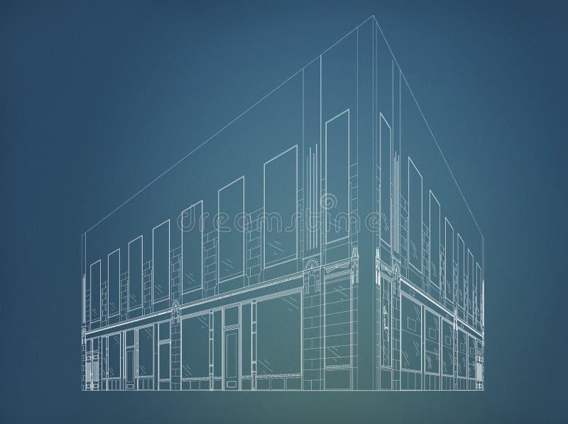 Wireframe byggnad fotografering för bildbyråer