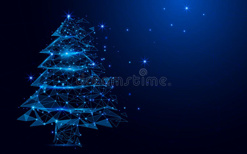Wireframe A Christmas tree sign mesh from a starry on blue background. royalty free illustration