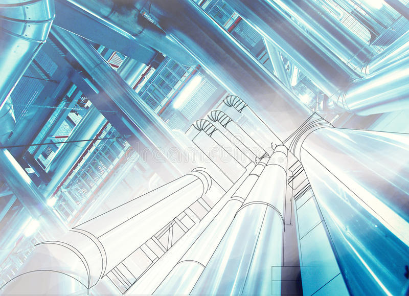 Wireframe computer cad design of pipelines at modern industrial. Wireframe computer cad design of pipelines for modern industrial power plant royalty free stock photography