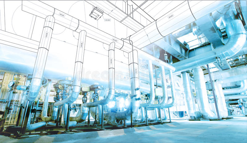 Wireframe computer cad design pipelines for modern industrial. Wireframe computer cad design of pipelines for modern industrial power plant stock photos