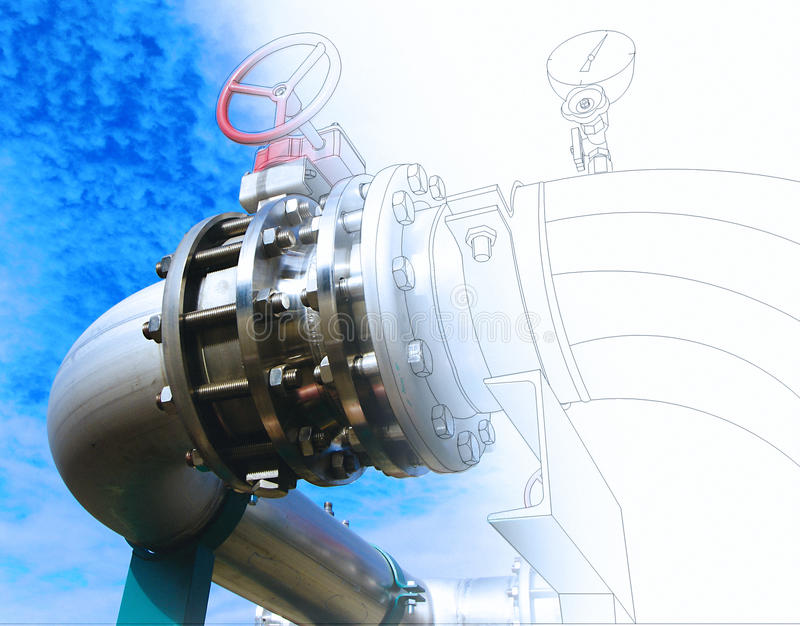 Wireframe computer cad design of pipelines and valves against bl. Ue sky royalty free stock photo