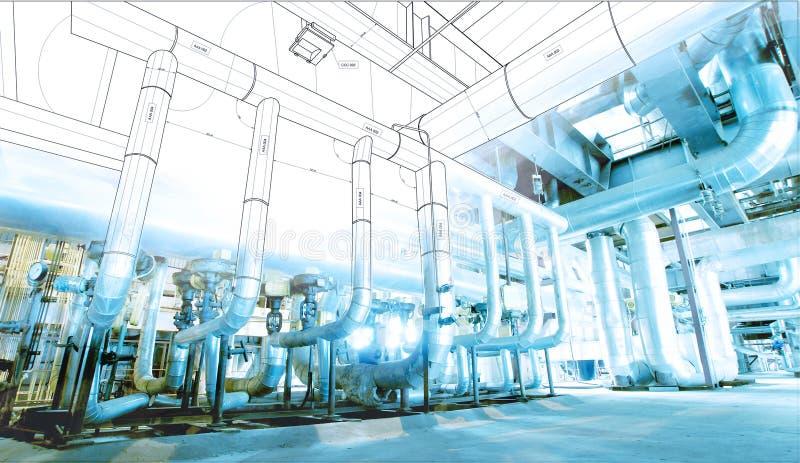 wireframe Computer cad-Designrohrleitungen für modernes industrielles stockfotos