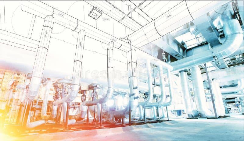 wireframe Computer cad-Designrohrleitungen für modernes industrielles stockfotografie