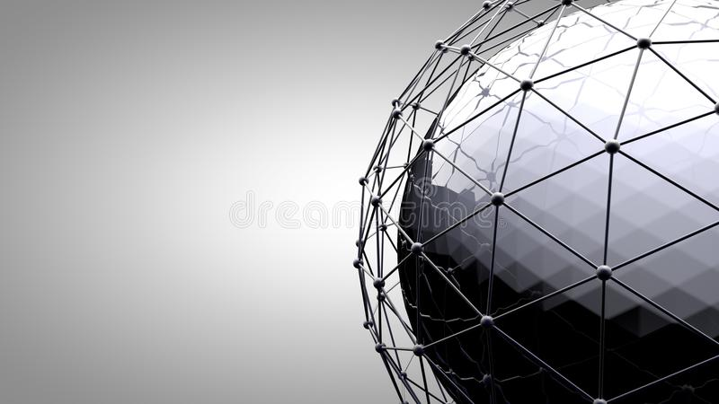 Wireframe connecting sphere. Connection lines around earth globe. The concept of social network, globe connection. royalty free stock photos