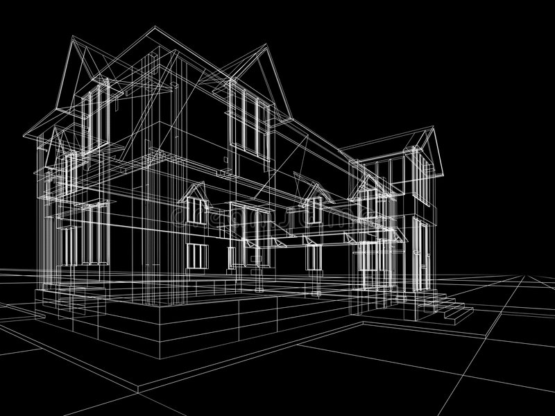 Wireframe Of Cottage Stock Images