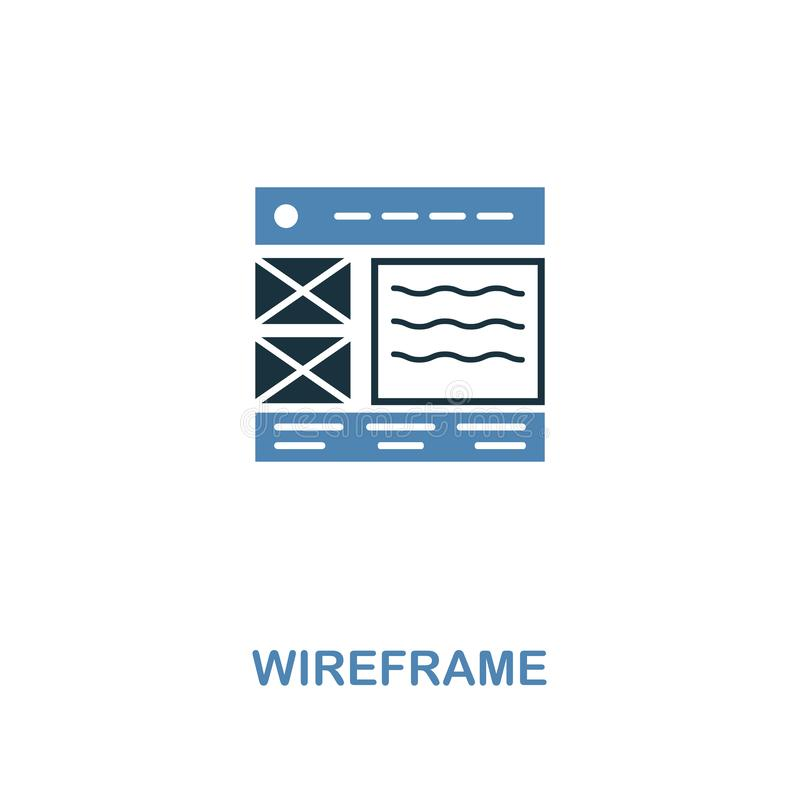 Wireframe creative icon in two colors. Premium style design from web development icons collection. Wireframe icon for web design, royalty free illustration