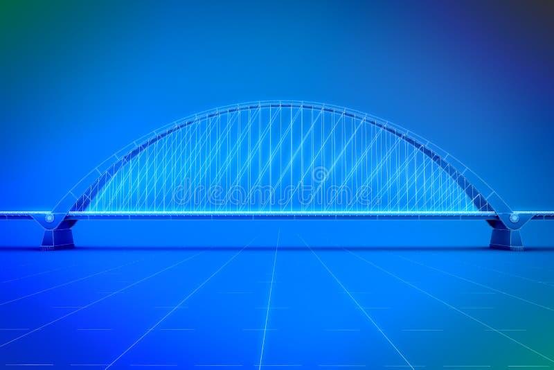Wireframe 3d回报桥梁 皇族释放例证