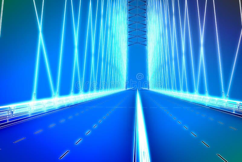 Wireframe 3d übertragen von einer Brücke stock abbildung