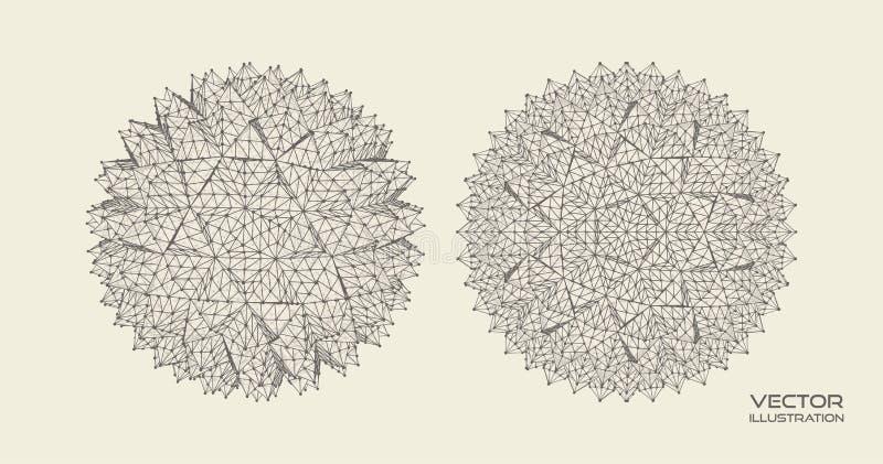 与被连接的线的球形 ?? 全球性数字连接 Wireframe?? 抽象3d栅格设计 分子栅格 皇族释放例证