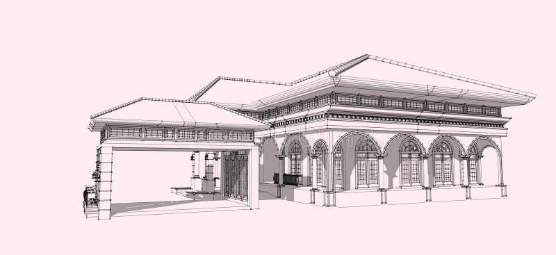 wireframe 3D des Gebäudes stockfoto