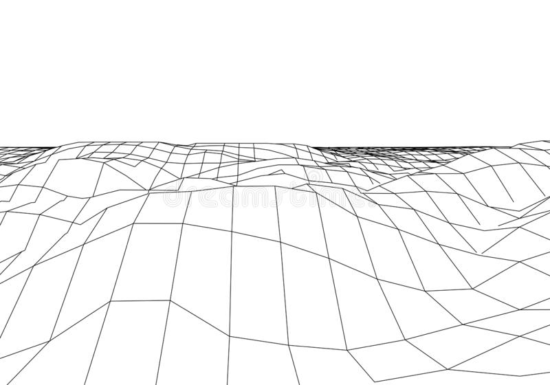 Wireframe 3D krajobrazu g?ry Futurystyczna 3D kartografia Wireframe krajobrazu drut Cyberprzestrzeni siatka ilustracja wektor