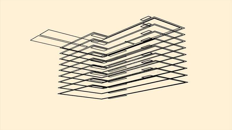 Wireframe da arquitetura com um modelo 3D da constru??o animation Contorno de gerencio do volume de uma casa no fundo bege ilustração do vetor