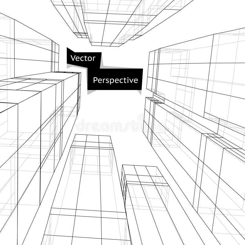 Wireframe da construção 3d na perspectiva Sumário ilustração do vetor