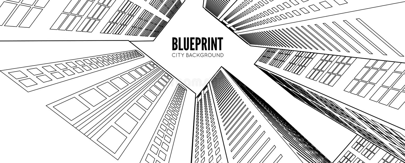 Wireframe da construção 3d rendem a cidade ilustração do vetor