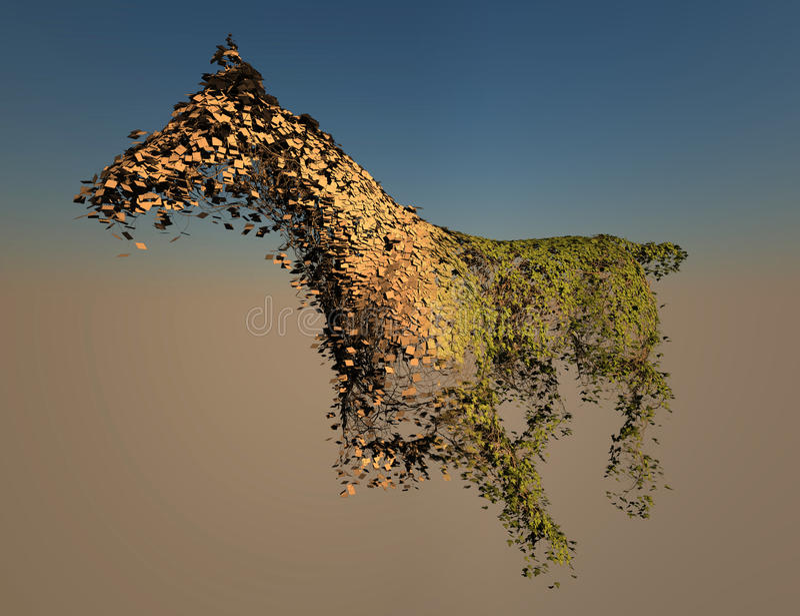 Wireframe de la hiedra del caballo y textured ilustración del vector