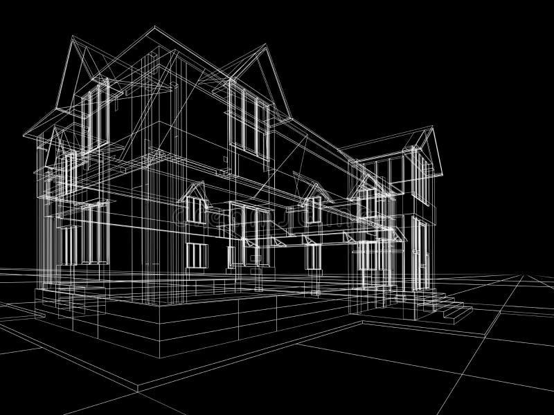 Wireframe de maison illustration libre de droits