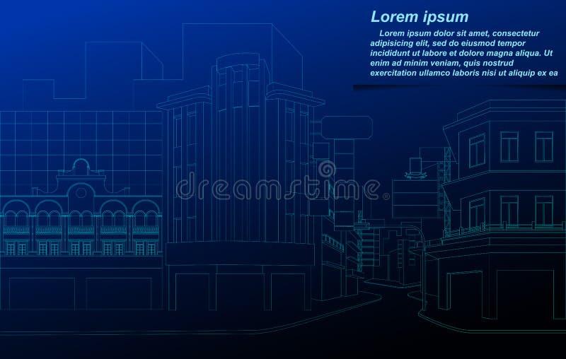 Wireframe de paysage urbain illustration de vecteur