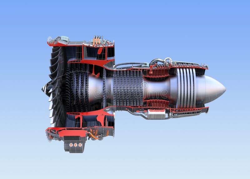 Wireframe de seção transversal do ` s do motor de jato de Turbofan isolado no fundo azul ilustração stock