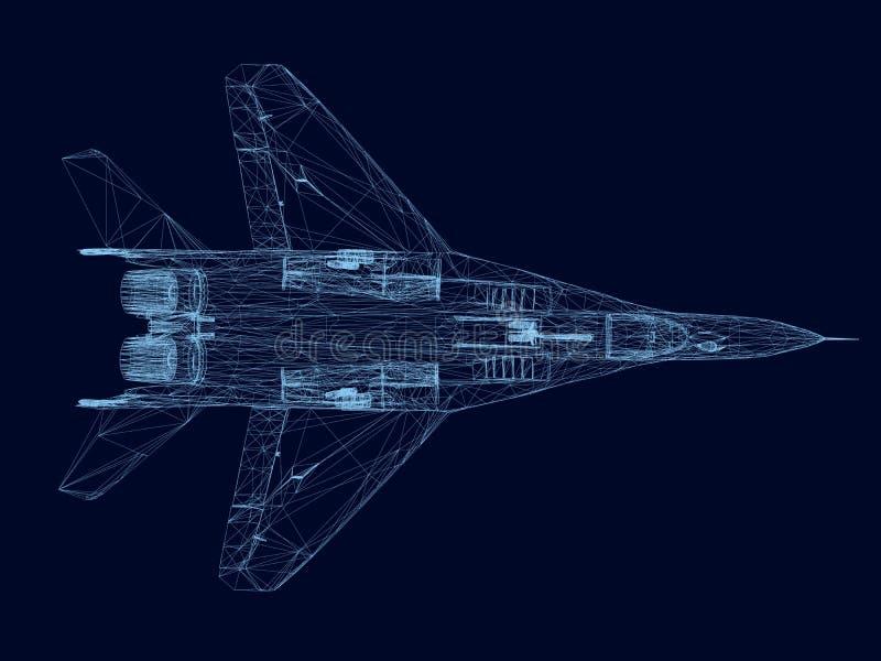 Wireframe de un combatiente de líneas azules en un fondo oscuro Visión desde arriba 3d Ilustración del vector libre illustration