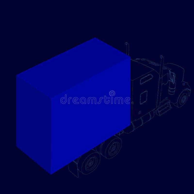 Wireframe del camión con una carga Visi?n isom?trica 3d Ilustraci?n del vector stock de ilustración