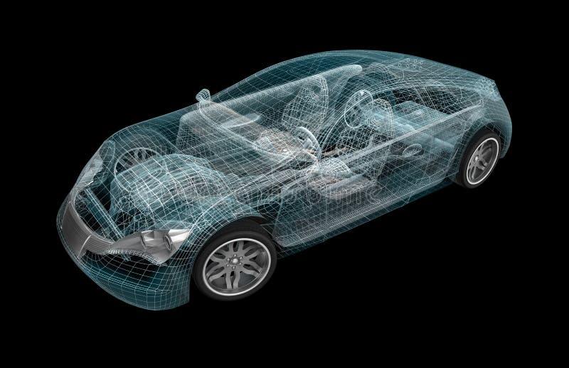 Wireframe del coche. Mis los propios diseño. ilustración del vector