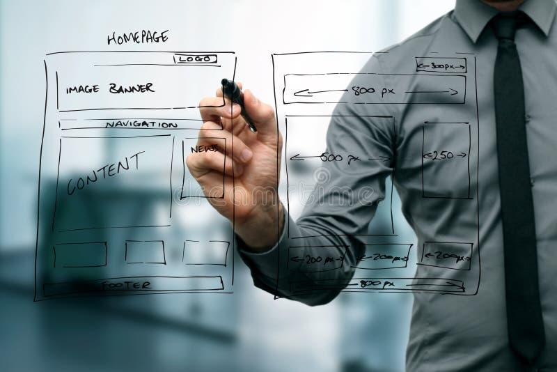 Wireframe del desarrollo del sitio web del dibujo del diseñador foto de archivo