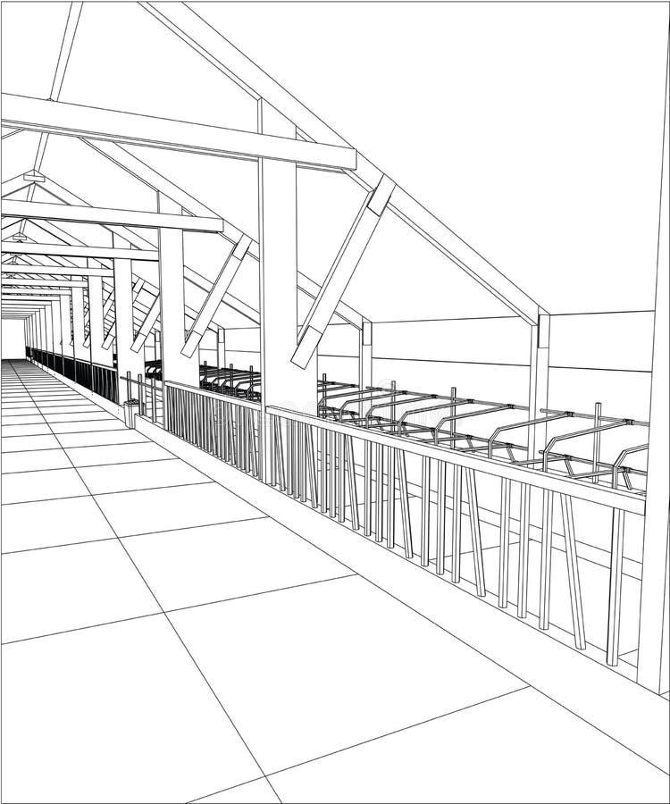 Wireframe del fabbricato industriale per fondo astratto Illustrazione di rintracciamento di 3d illustrazione vettoriale