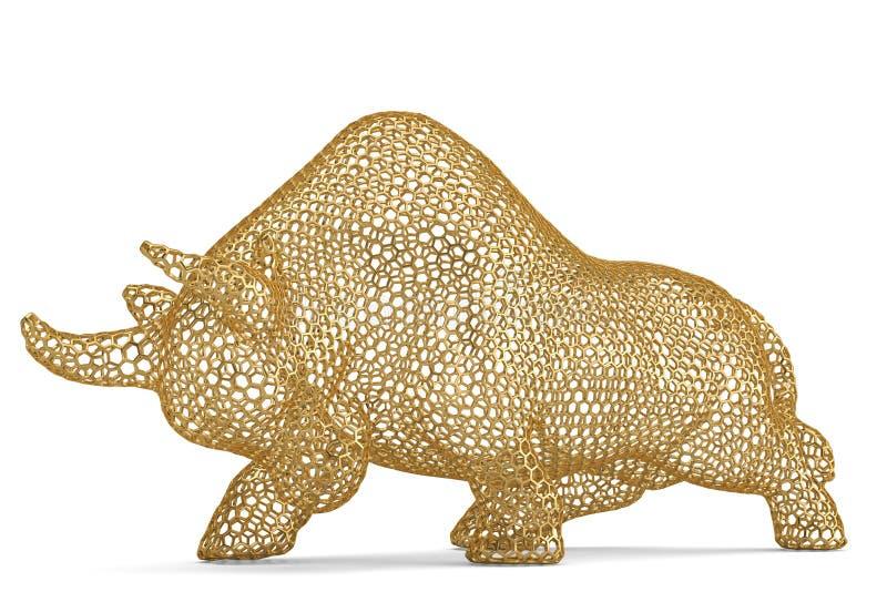 Wireframe del hexágono del oro o toro de la malla en el fondo blanco illus 3d libre illustration